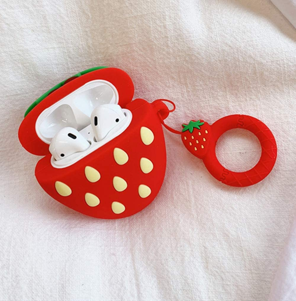 3D Strawberry Mulafnxal Compatible with Airpods 1/&2 Case,Cute Funny Cartoon Character Silicone Airpod Cover,Kawaii Fun Cool Design Skin Fashion Fruit Designer Cases for Girls Kids Teens Boys Air pods