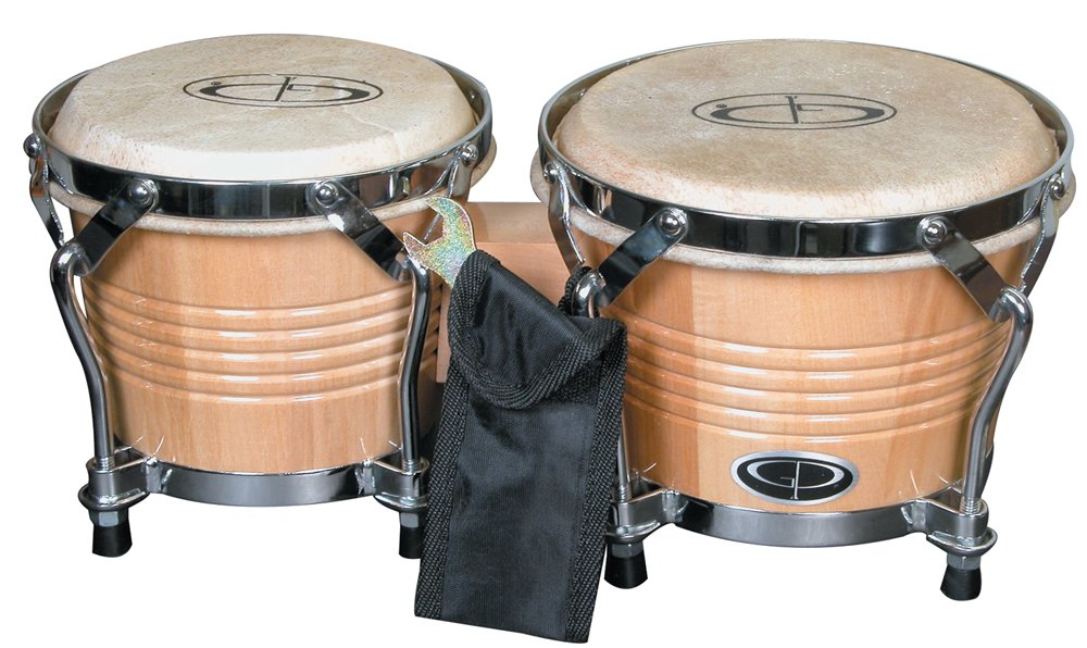 GP Percussion B2 Pro-Series Tunable Bongos, 6 and 7-Inch, Clear Finish, Hickory