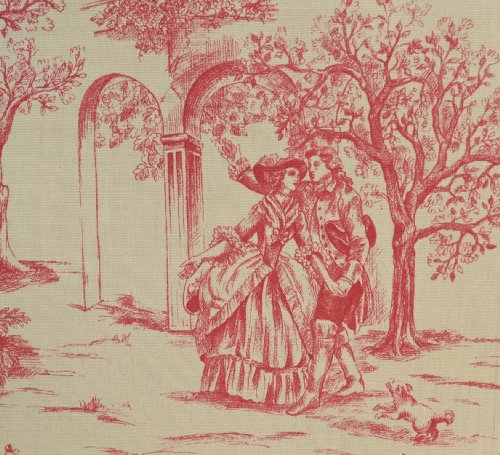 Red Toile Fabric Direct From France (Toile De Jouy)   Aimee   Authentic French Designer 100% Cotton Print   140cms (55