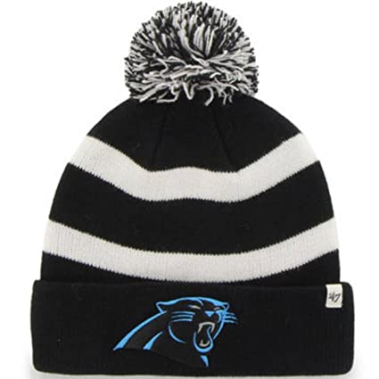 Image Unavailable. Image not available for. Color  Carolina Panthers 47  Brand Black White Breakaway Cuff Poofball Beanie Hat Cap 599d24301
