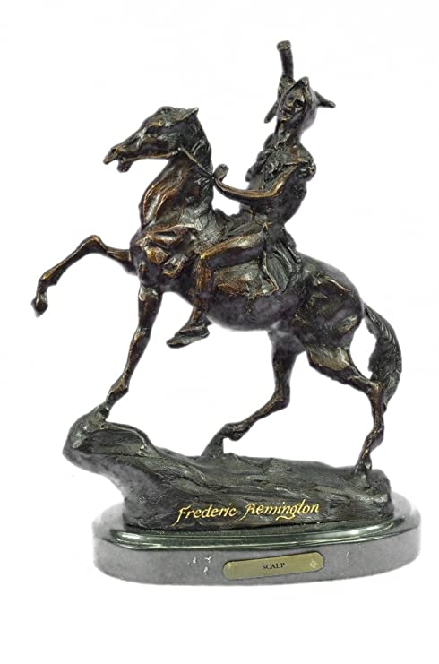 Handmade European Bronze Sculpture American Indian Warrior Signed Remington Figurine Figure Bronze Statue -63100-