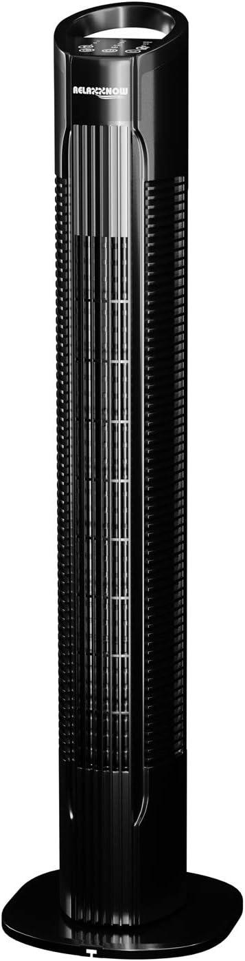 RelaxxNow Ventilador de Torre Extremadamente Silencioso   Mando a Distancia   50W   Multi Touch Display   Temporizador   Marca de Calidad Alemana   78cm Ventilador de Columna + 3 velocidades VTX400
