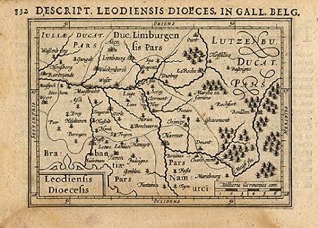 antique map leodiensis liege luik belgium bertius hondius 1616