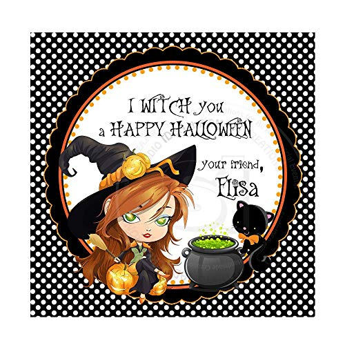 Halloween Customized Printable Tagswitch Themehalloween Thank You Tag DIY Personalized Square Tagsdigital File ()
