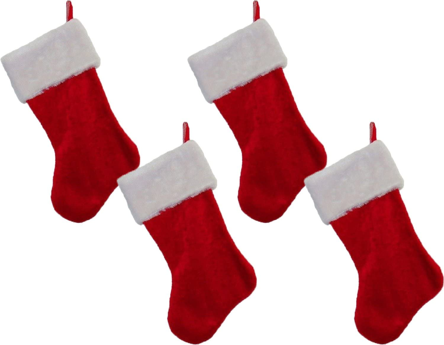 """Classic Christmas Holiday Stockings Red & White Plush 18"""" Set of 4"""