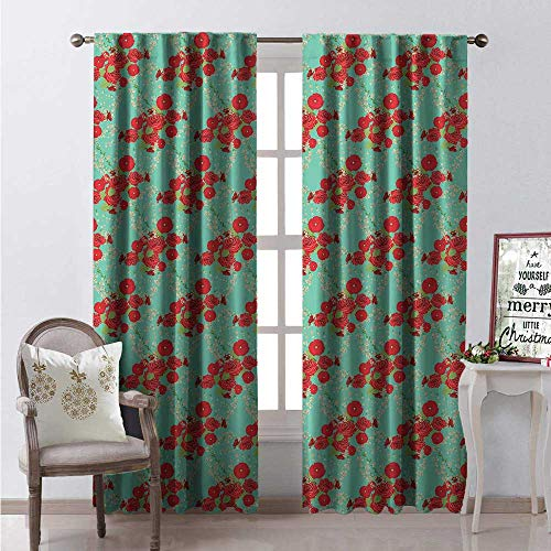 (Hengshu Garden Window Curtain Drape Ornate Romantic Spring Illustration Roses Poppies Floral Composition on Sea Green Customized Curtains W120 x L108 Multicolor)