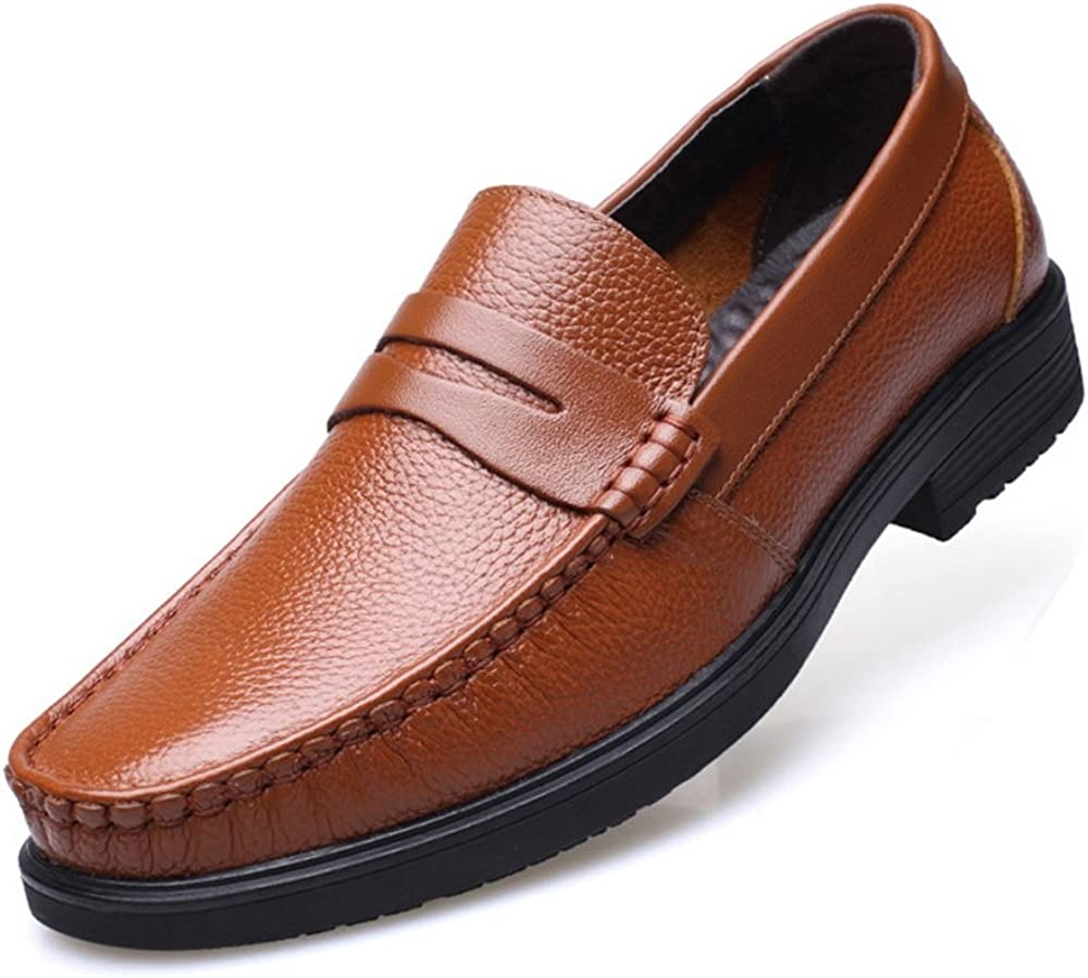 MXL Classic Mens Shoes Genuine Cowhide Leather Slip-on Flat Soft Sole Lined Loafer Dress Shoes