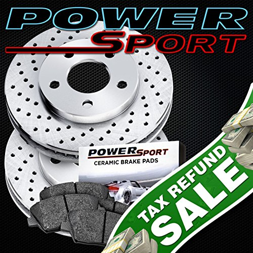 Chrysler Crossfire Brake Disc (Rear PowerSport Cross-Drilled Brake Rotors Disc and Ceramic Pad Crossfire,SLK320)