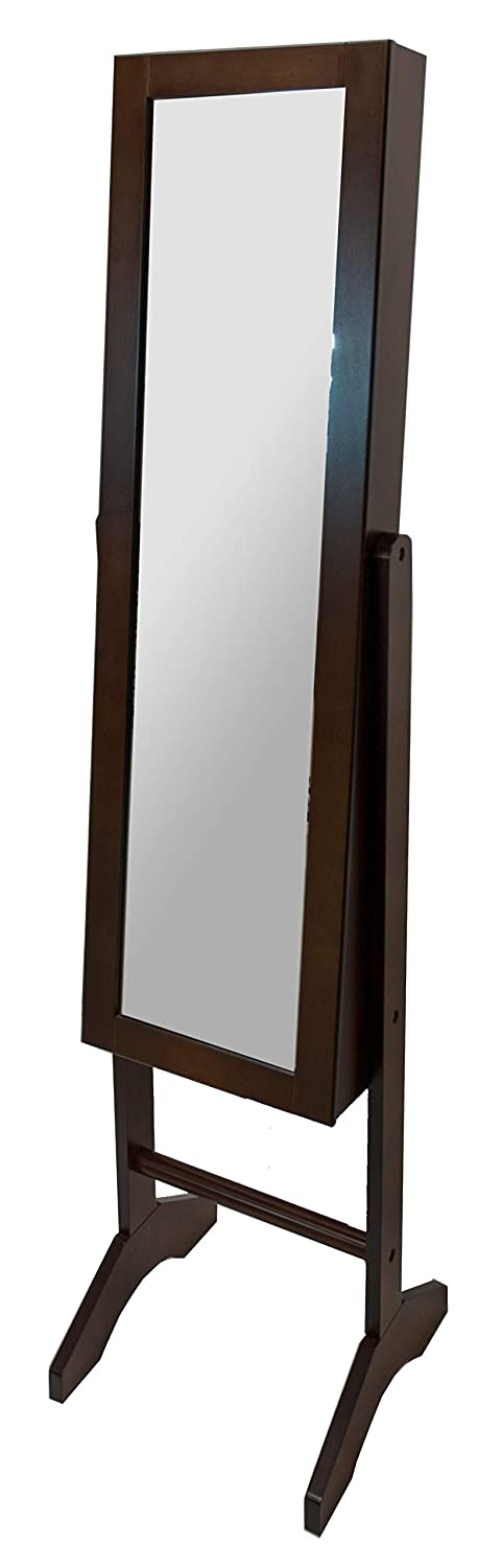 A68291 Wooden Floor Mirror Jewelry Armiore - Brown Rayes Imports