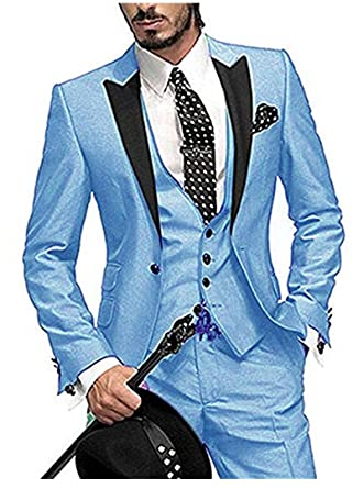 9da925ea32e5 Men's Light Blue 3PC Suit Notch Lapel Blazer One Button Wedding Suits Groom  Tuxedos Light Blue