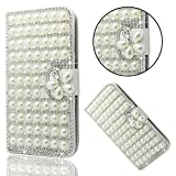 iPhone 6 Plus Case Luxury, iPhone 6S Plus Cover, Bonice Glitter Bling Diamonds Handmade Stand View PU Leather Folio Flip & Card Slots Holder Diamond Wallet Case for Apple iPhone 6 Plus/6 Plus - Pearl