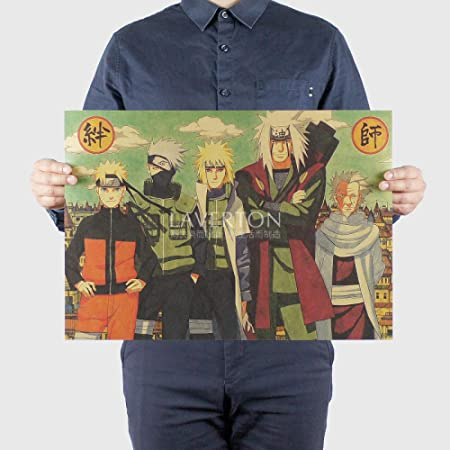 zxddzl Naruto Classic Ninja Anime Cartel de Papel Kraft ...