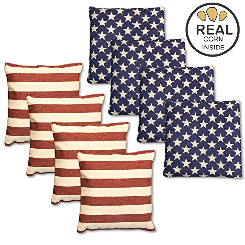 Corn Filled Cornhole Bags - Set of 8 American Flag Bean Bags for Corn Hole Game - Regulation Size & Weight - Stars and Stripes 8 Replacement Bean Bags