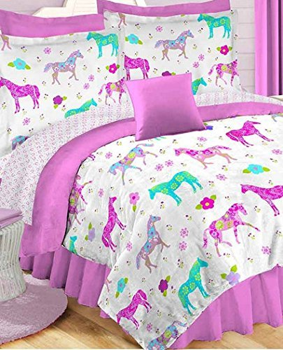 Girls Pony On Parade Horse Twin Comforter, Sheets U0026 Sham (5 Piece Bed In