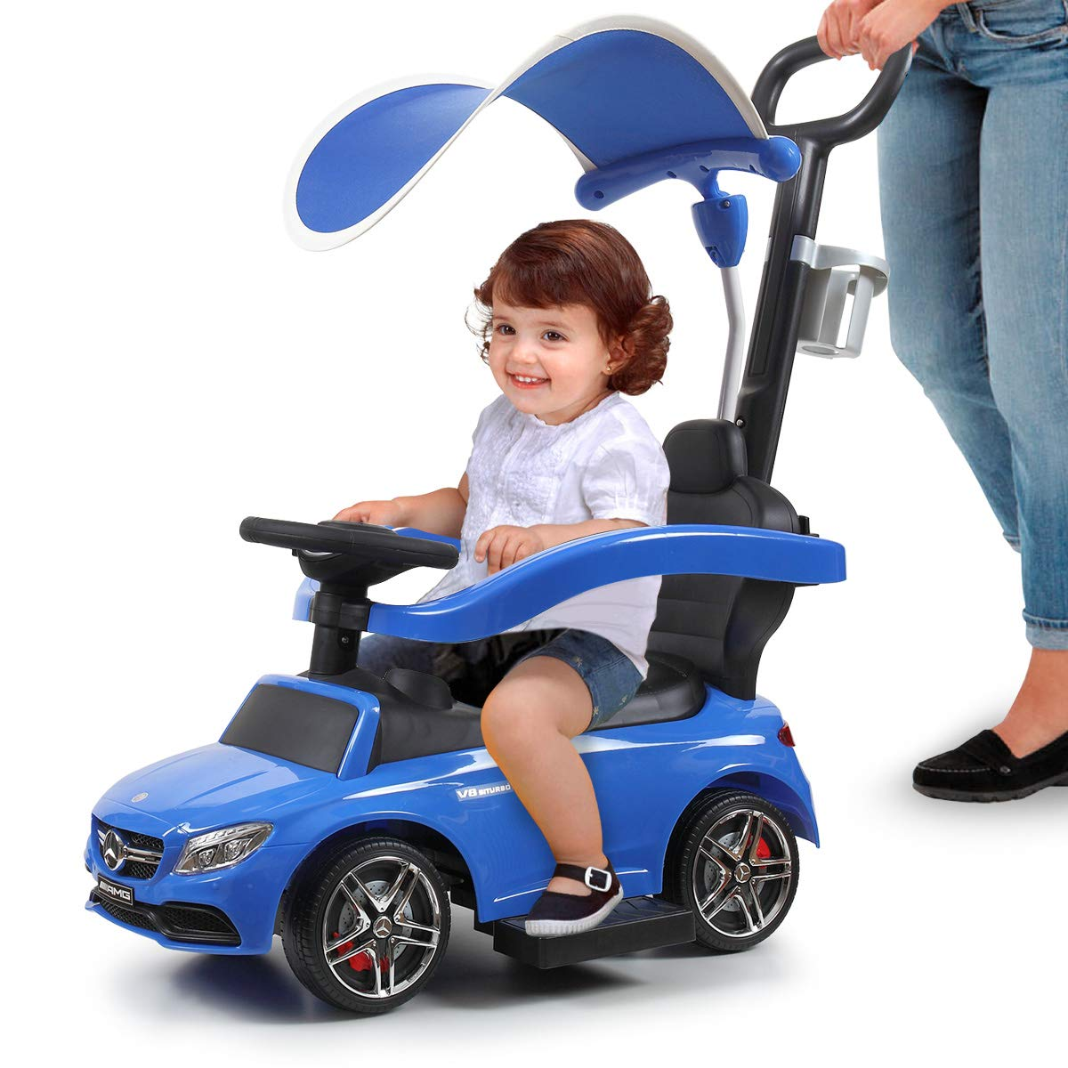 Blue White Mercedes Benz Kids Ride-on Push Car w/Music&Horn for Toddler