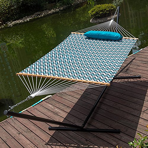 LazyDaze Hammocks 15 Feet Heavy Duty Steel Hammock Stand, Two Person Quilted Fabric Hammock And Pillow Combo,Blue&White Wave by Lazy Daze Hammocks