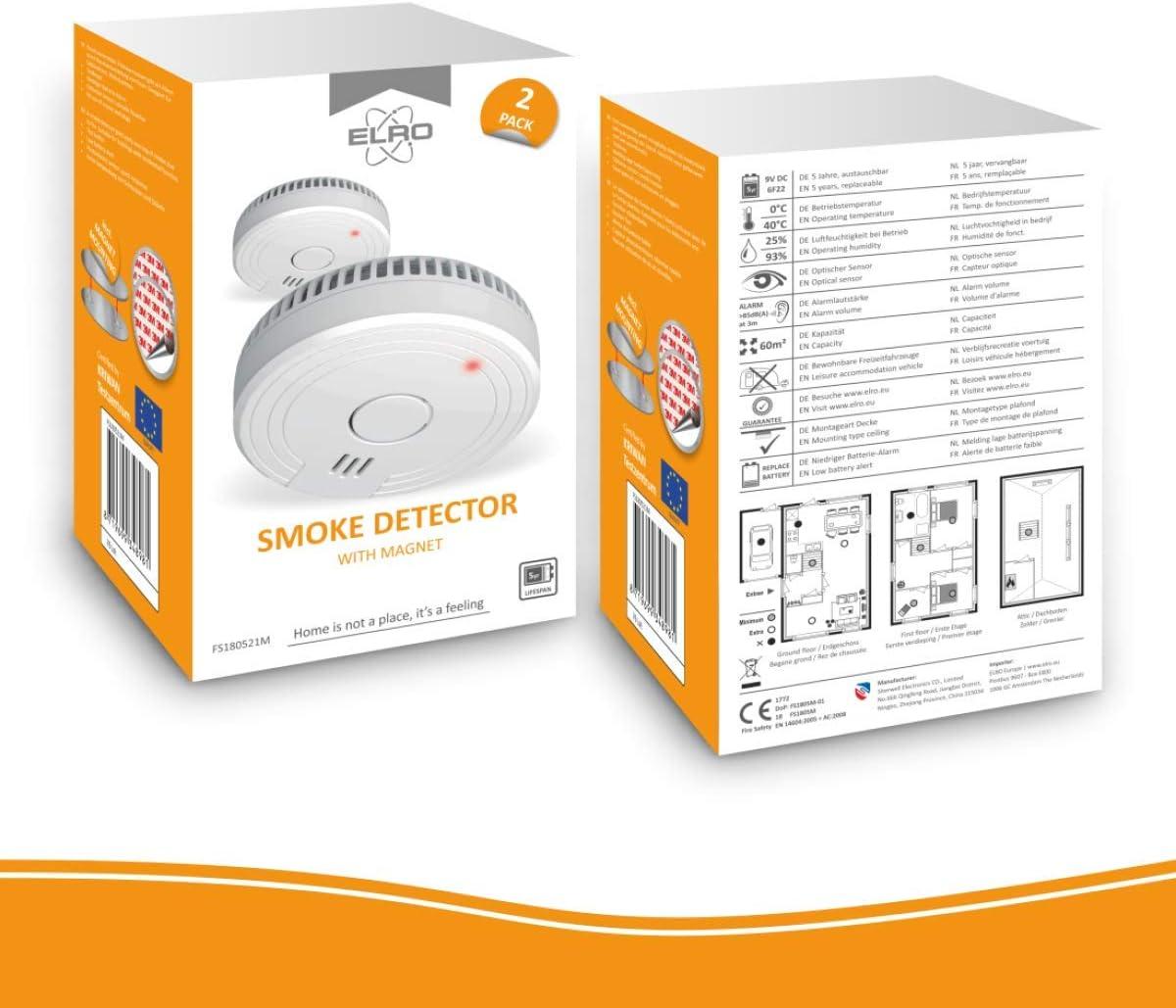 Cumple con el est/ándar Europeo EN14604 ELRO FS1801 Detector de Humo
