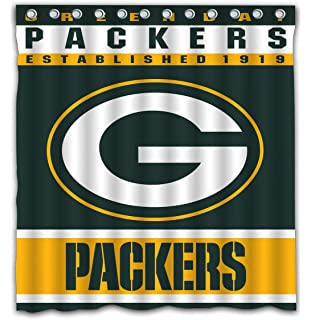 Potteroy Green Bay Packers Team Design Shower Curtain Waterproof Mildew Proof Polyester Fabric 66x72 Inches
