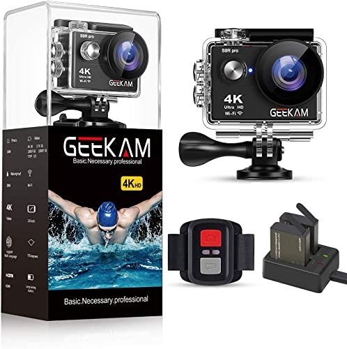 GeeKam Action Camera 4K 30fps WiFi Ultra HD 16MP Waterproof Camcorder 30M Underwater 170 Wide Angle Sports Cam with Remote Control Two Batteries and Mounting Kit S9Rpro Black