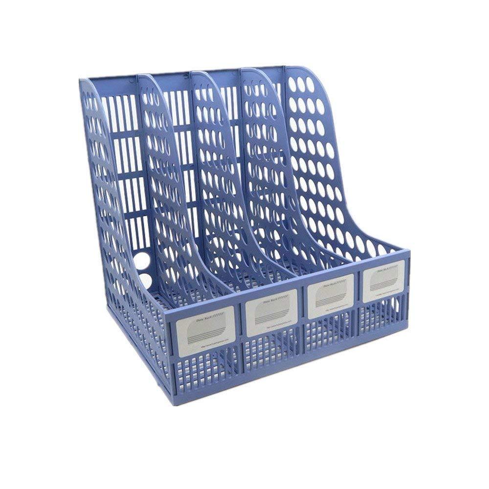 Funny Live Plastic Desktop Documents 4 Compartment File Rack Holder Desktop File Sorter Magazine Book Holder Organizer,Blue