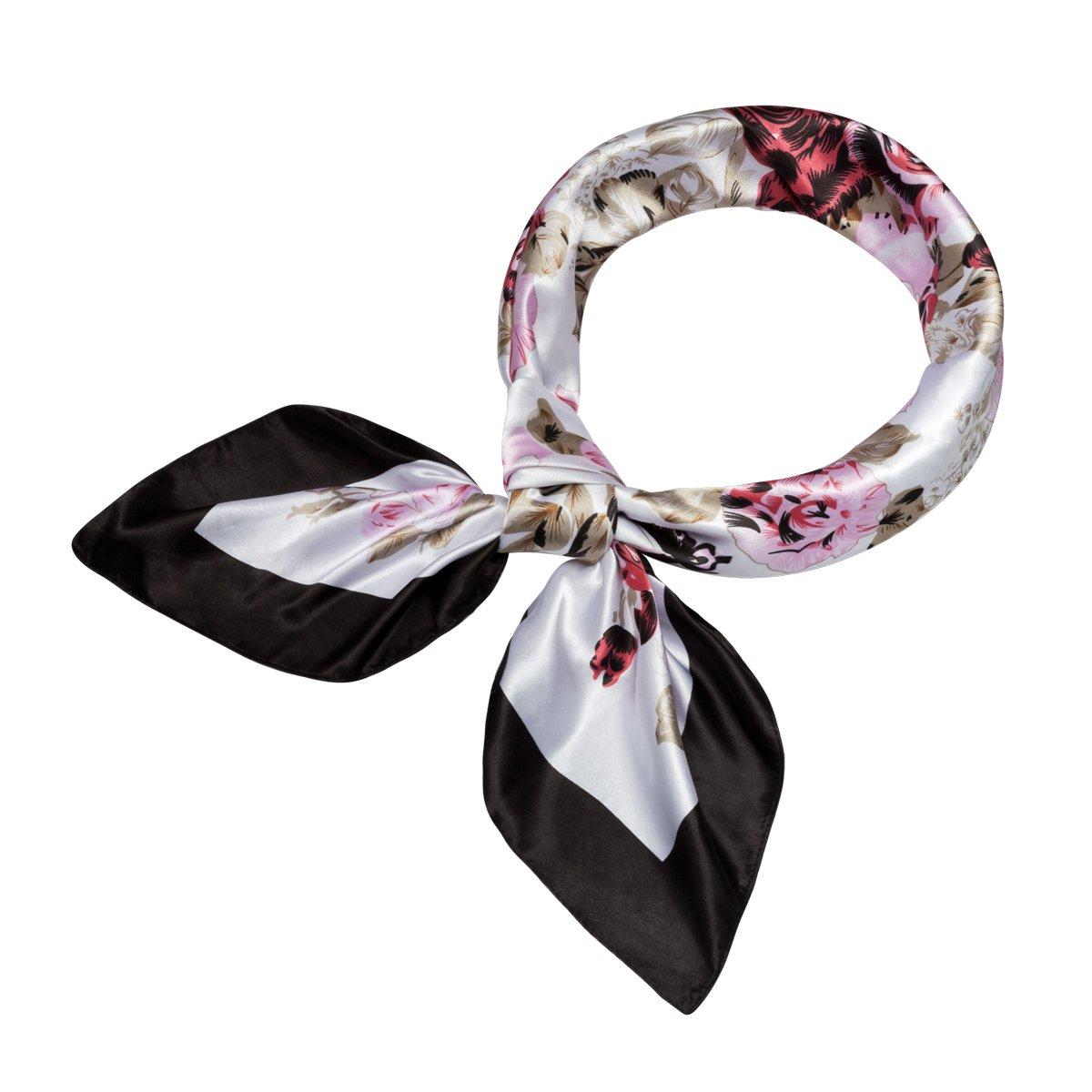 Flowomen Women\'s Silk Scarf colorful Square Large Neckerchief Daily Luxury Fashion Wrap (Black1)