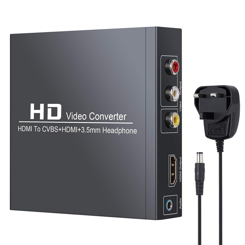 Neoteck HDMI a RCA y HDMI Convertidor HDMI a HDMI 3RCA CVBS Adaptador de Audio y Video Compuesto AV con Auriculares de 3,5 mm con Funcion de Zoom Compatible con 1080P PAL NTSC para TV HD y TV