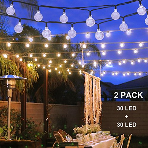Binval Solar Christmas String Lights For Outdoor Patio Lawn Landscape Garden Home Wedding Holiday Decoration 19 7Feet   6M   30Led White 2 Pack