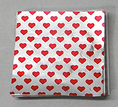"""3"""" x 3"""" Valentines Print - Red Heart on Silver- Confectionery Foil Wrappers Candy Wrappers Candy Making Supplies"""