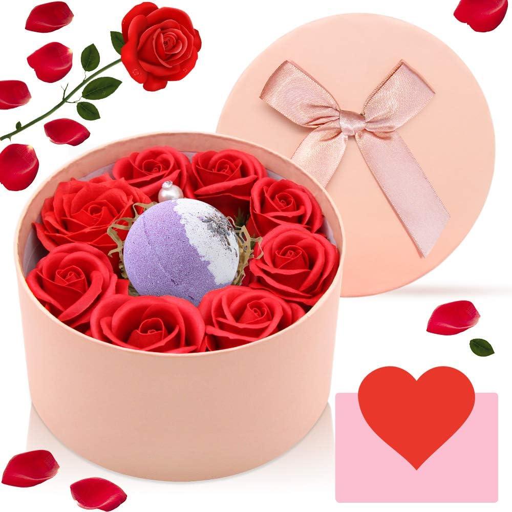 SPECOOL Regalos para Mujer,Jabón Flor De Rosa y Bomba de Baño, Madre, Maestra,Hermana en el día de la Madre, día de San Valentín, Aniversario, Cumpleaños