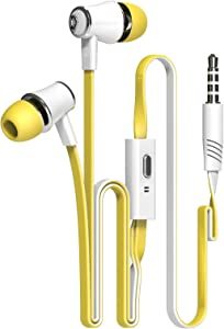 Candy Color Original Earphones with Microphone Super Bass Noodle Line Earbuds Headphones Headset for iPhone 6 6s Xiaomi Smartphone (Yellow)