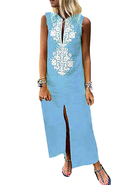 Sky bluee Dokotoo Womens Summer Casual Floral Print Boho Beach Dress Maxi Long Dresses