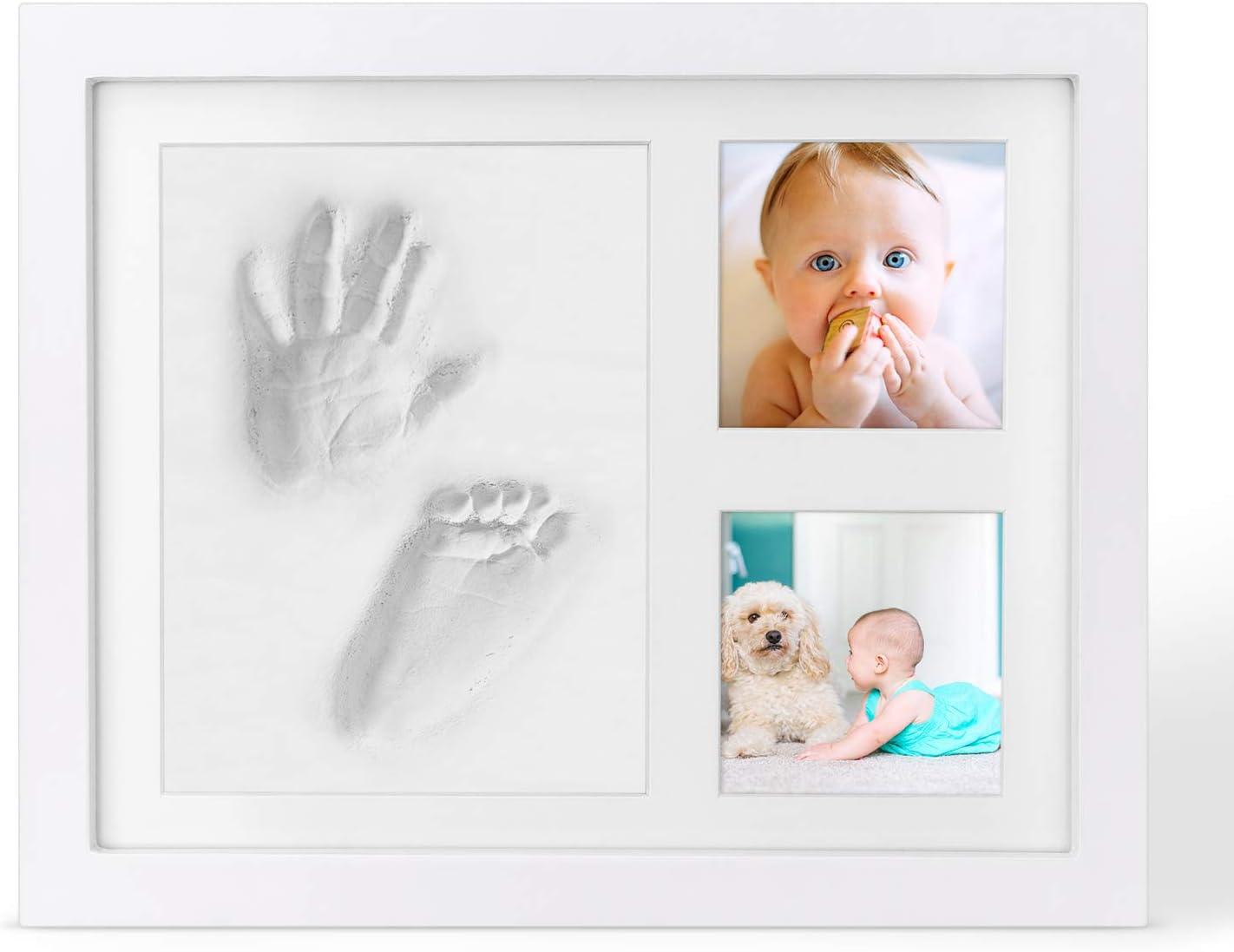 KOREY Marco de Arcilla de Bebé, Kit de Marco para Manos y Huellas de Bebé, No Tóxico Seguro Arcilla Premium y Marcos Madera - Regalo ideal para Recién Nacido
