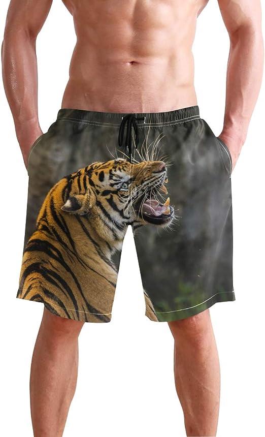 Mens Swim Trunks Quick Dry Yellow Cat Claw Pattern Printed Summer Beach Shorts Board Beach Short