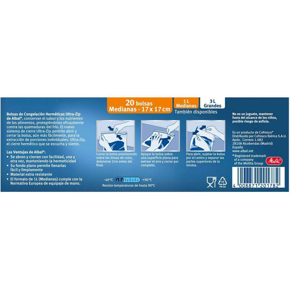 Albal Congelación Herméticas | Ultra-Zip | 1 Litro, 17x17 ...
