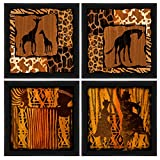PTM Images 1-20719A Tribal Animal Silhouettes Frame, 14 by 14-Inch, Black, Set of 4