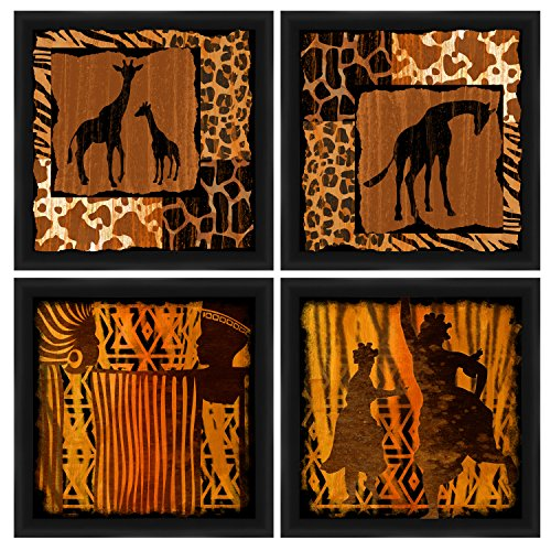 PTM Images 1-20719A Tribal Animal Silhouettes Frame, 14 by 14-Inch, Black, Set of 4 by PTM Images
