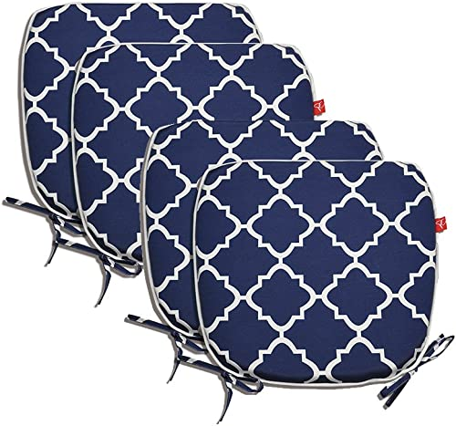 Pcinfuns Indoor Outdoor All Weather Chair Pads Seat Cushions Garden Patio Home Chair Cushions, 17 X 16 Navy Blue 4 Set