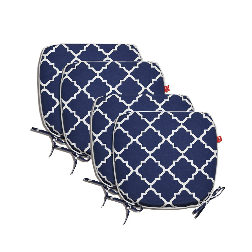 "Pcinfuns Indoor/Outdoor All Weather Chair Pads Seat Cushions Garden Patio Home Chair Cushions, 17"" X 16"" (Navy Blue(4 Set))"