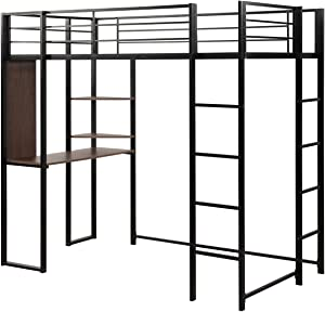 Giantex Metal Loft Bed Frame with 2 Ladders, Space-Saving Bunk Bed with SafetyGuardRails, Twin Loft Bed with Desk 2 Tier Shelves for Bedroom Dorm, Boys & Girls Teens Kids Room (Twin, Black)