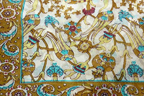Foulard Gamme Traditional de Soie Motif Indira Gold & Aquamarine de Pashmina & Silk