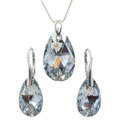 0a8677122 Crystals & Stones Women's Large Jewellery Set, Silver 925, Almond,