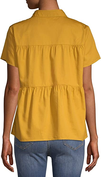 Time and Tru Women/'s Button Front Peplum Top in Apple Juice