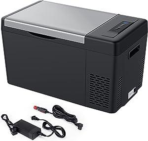 JOYTUTUS Portable Refrigerator Fridge, 23 Quart(22L) 12V Car Fridge Freezer(-7.6℉~50℉), Electric RV Car Cooler Refrigerator for Vehicle, Boat, Home Use with Camping, Travel-12V/24V DC