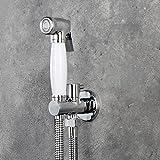 White and Chrome Ceramic+Brass Toilet Bidet Sprayer kits+Brass Bracket Connector Holder Chrome