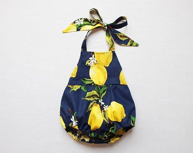 d7ced1e2947 Amazon.com  Lemon Baby Girl Romper Navy Baby Bubble Romper Halter Romper   Handmade