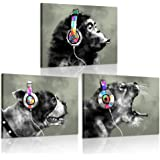 iKNOW FOTO 3 Piece Modern Gorilla Monkey Music Canvas Art Wall Painting Abstract Animal Happy Dog and Leopard Decor Artwork P