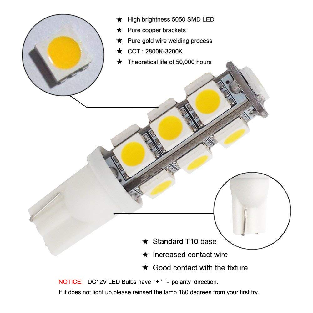 Grv T10 921 194 13 5050 Smd Wedge Led Bulb Lamp Super Bright Warm Track Lighting Without Wiring White Dc 12v Pack Of 10 Office Products