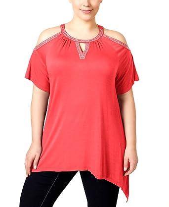 fee4f76f6e7bc2 Amazon.com  INC Womens Plus Cold-Shoulder Embellished Tunic Top ...