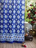 Saffron Marigold – Casablanca – Blue and White Moroccan Inspired Hand Printed – Quatrefoil Sheer Cotton Voile Curtain Panel – Tab Top or Rod Pocket – (46″ x 84″) Review