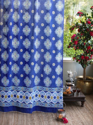 Cheap Saffron Marigold – Casablanca – Blue and White Moroccan Inspired Hand Printed – Quatrefoil Sheer Cotton Voile Curtain Panel – Tab Top or Rod Pocket – (46″ x 63″)